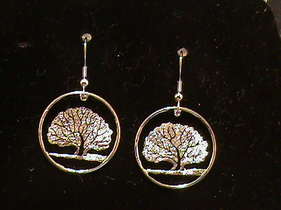 Connecticut State quarter hand cut to Earrings
