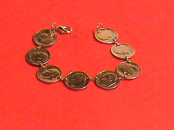 US Dimes gold plated 24kt made into necklace