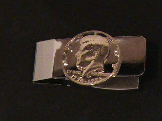 Kennedy 50 cent coin hand cut money clip