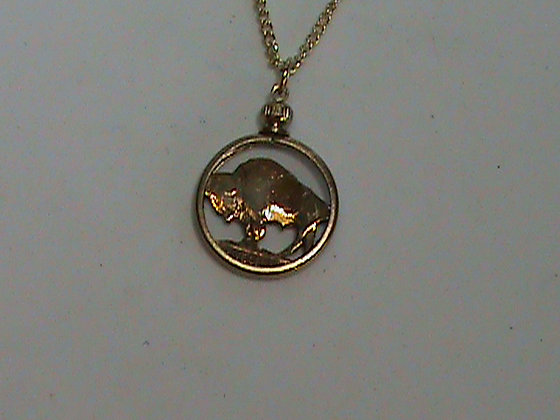 Buffalo Nickel Hand cut, Gold Plated Necklace