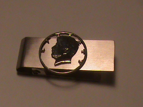 Kennedy 50 cent coin cut for money clip