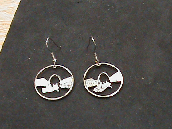 Missouri State Quarters cut mounted as Earrings
