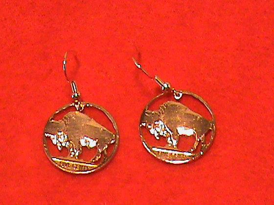 Indian head nickel gold plated earrings