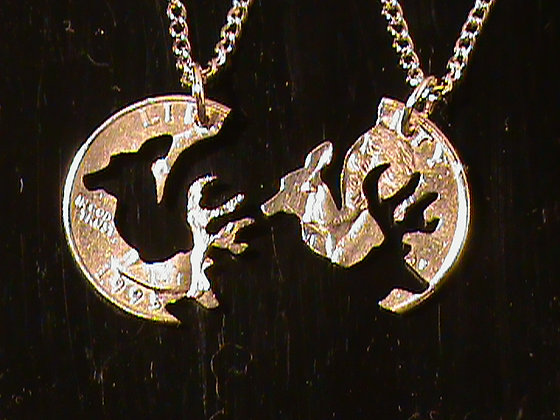 Interlocking Buck and Doe necklace on 24 in chain