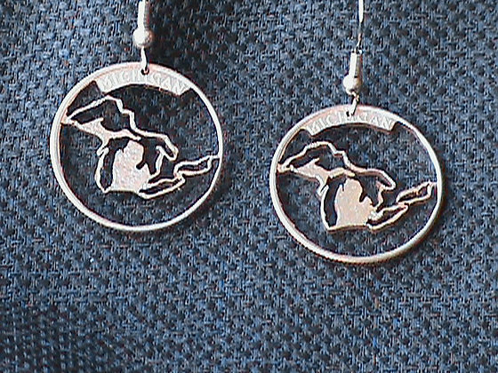 Michigan State Quarters Hand Cut made into Earring