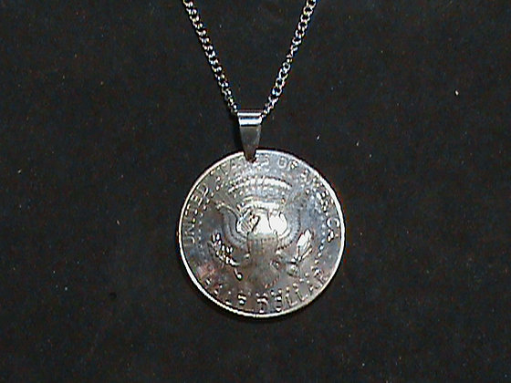 Kennedy 50 Cent Coin Domed and used as a Pendant