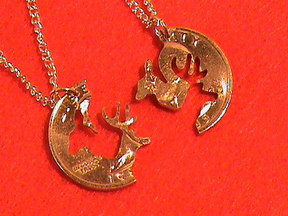 Buck and Doe interlocking 24 kt Gold Plated