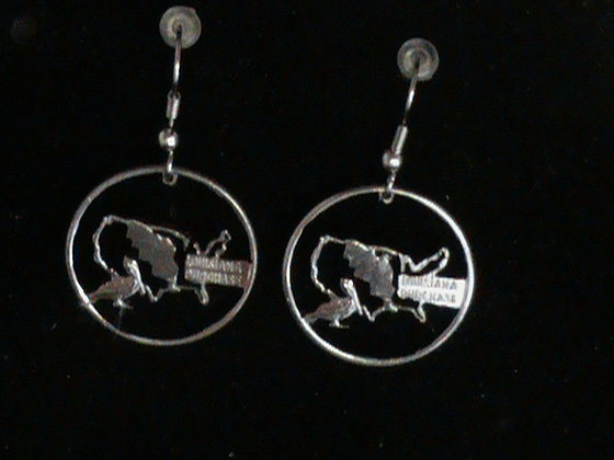 Louisiana State Quarters  Cut Made into Earrings