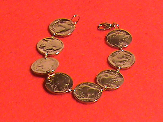 Indian Head Nickel Gold Plated made into Bracelet