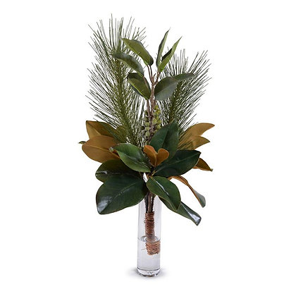Magnolia, Pine, Berry Arrangement in Glass Bud Vase
