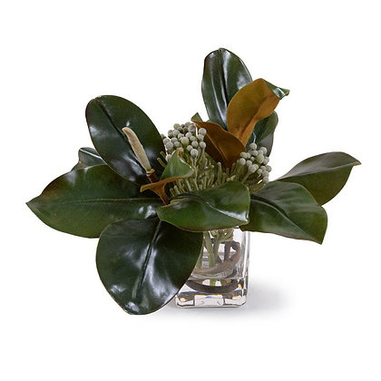 Magnolia, Silver Brunia Arrangement in Glass Cube