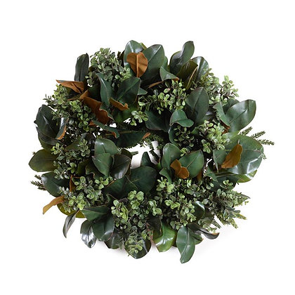 "24"" Boxwood, Magnolia Wreath"