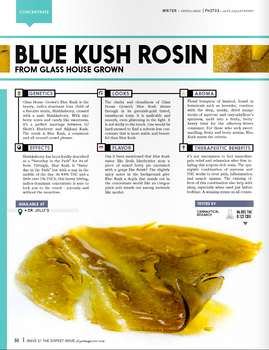 Glass House Grown's Blue Kush Rosin featured in January 2016 issue of Dope Magazine: Oregon Edit