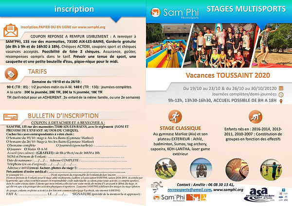 STAGES TOUSSAINT 2020 MULTISPORTS SAM'PH
