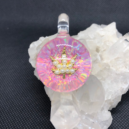 Large Pink Opal and Pearl Cannabis pendant