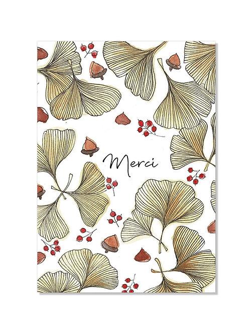 Carte de remerciement - ginko
