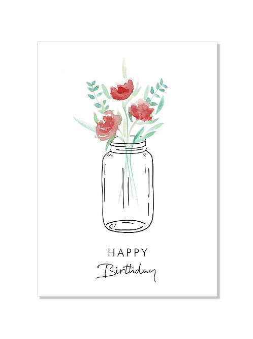 Carte anniversaire - fleurs rouges