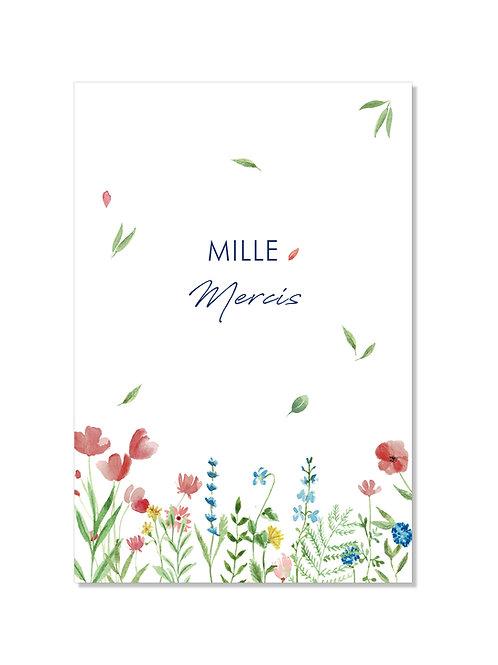 Carte remerciement - fleurs champêtres