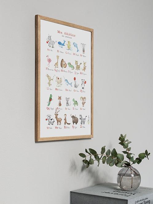 Abécédaire des animaux avec cadre en bois