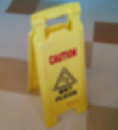 Wet floor caution sign at Witch Hazel Elementary in Hillsboro