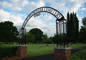 Hillsboro Pioneer Cemetery entrance sign