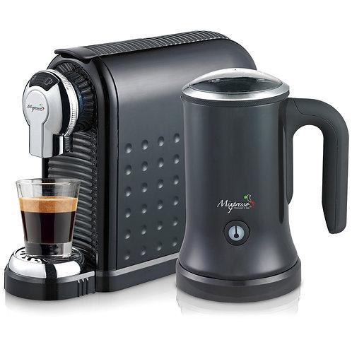 意特濃 - 纖巧型膠囊咖啡機連打奶泡機組合(黑色)
