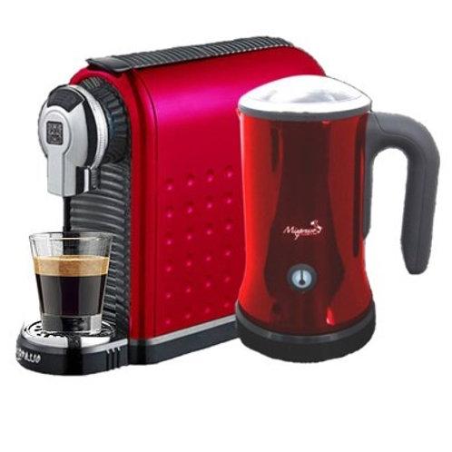 意特濃 - 二合一膠囊咖啡機連打奶泡機組合(紅色)