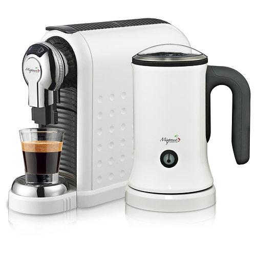Milan Espresso Machine w/Milk frother (White)
