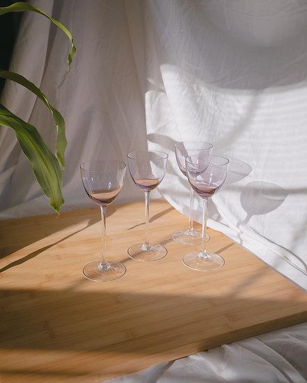 'plum' alsace wine glasses x4