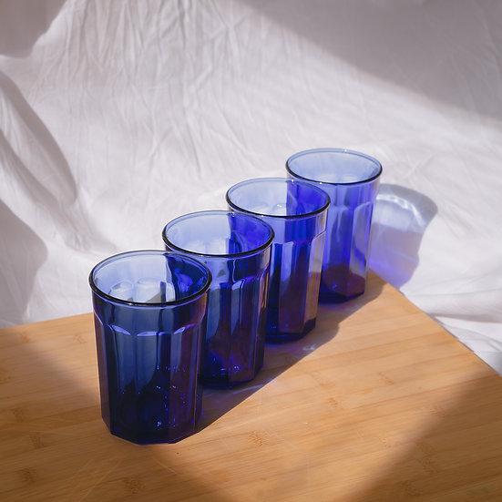 'azure' cobalt drinking glasses x4