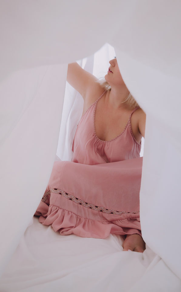 self portrait in bed sheets by arynlei creative