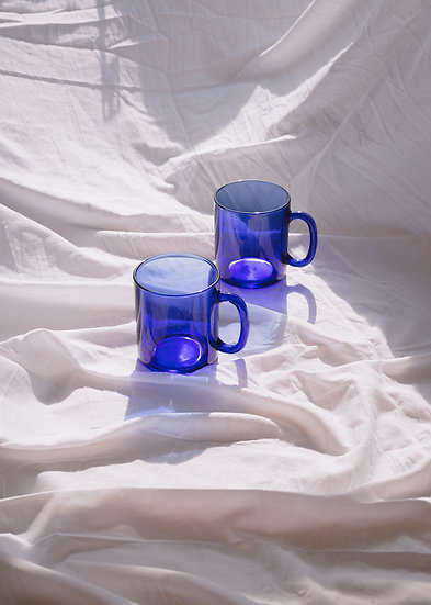 'mondrian' cobalt glass mugs x2