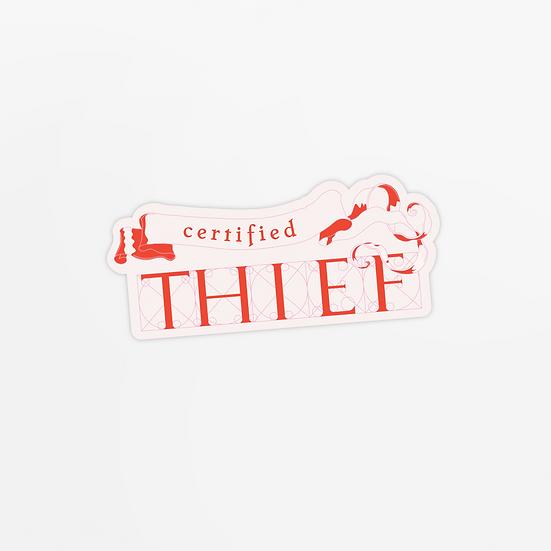 'certified thief' sticker