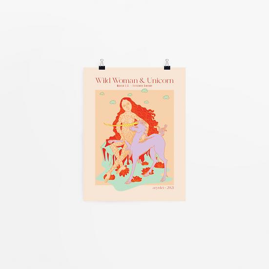'wild woman & unicorn' art print
