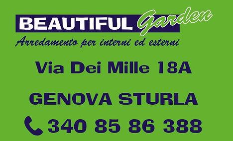 Beautiful Garden Srl sito a Sturla in via dei Mille 18A si occupa della vendita di ARREDAMENTO DA GIARDINO, ARTICOLI MARE di cui SDRAIO BRANDINE E OMBRELLONI. Inoltre si occupa anche della vendita di ARREDAMENTO DA INTERNO, PERGOLE, GAZEBI, CASETTE E GRIGLIATI SU MISURA.