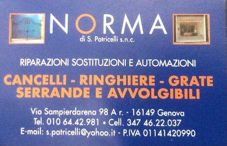 Norma snc operativa dal 2000 con sede in via Sampierdarena 98a/r (Genova Sampierdarena). Si occupa di progettazione, forniture e pose in opera di cancelli, inferiate, ringhiere, scale, soppalchi, serrande ed arredamenti d'interni, il tutto coperto dal servizio di manutenzione. PREVENTIVI GRATUITI.