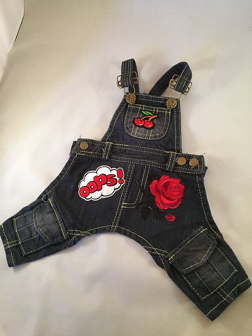Vintage Denim Overalls with Patches X Small