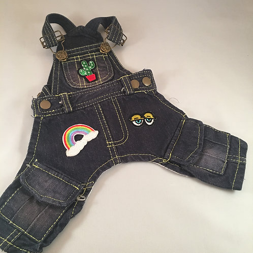 Vintage Denim Overalls with Patches- XX Small