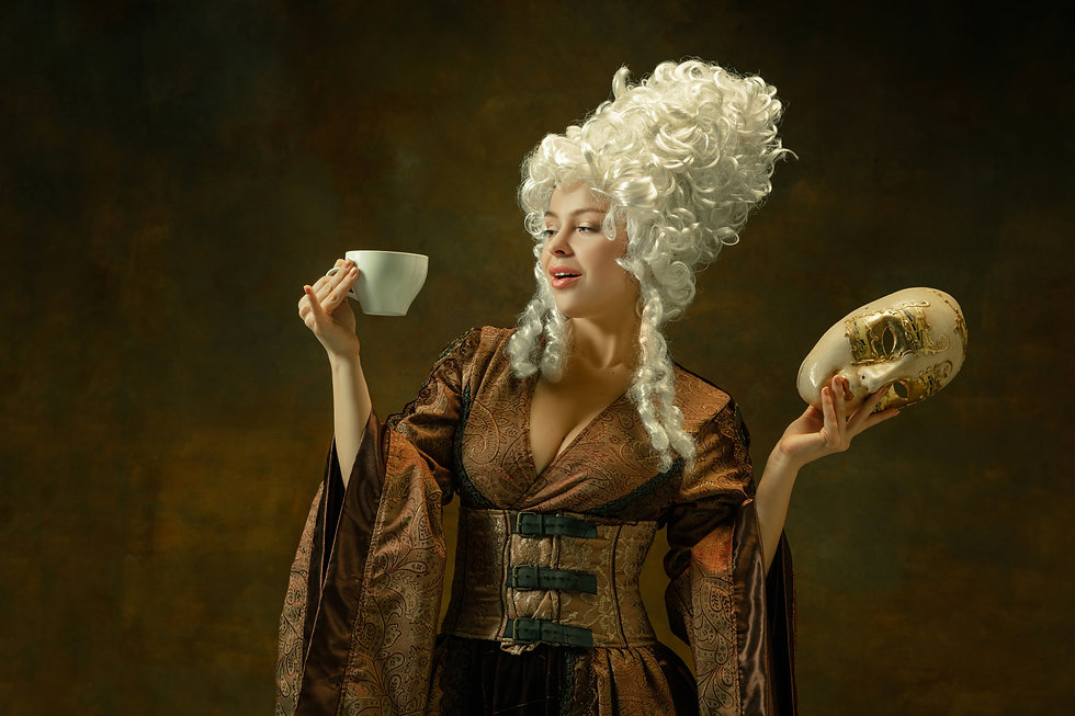 drinking-coffee-with-mask-portrait-medie