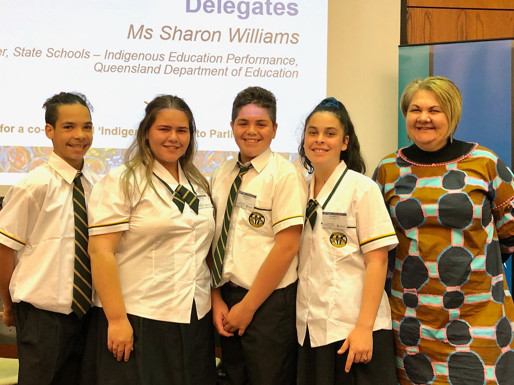 The Gayndah Students with Sharon Williams of the Department of Education.