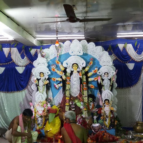Goddess Durga & Goddess Annapurna being worshipped at 'Voice of World' specially for the children