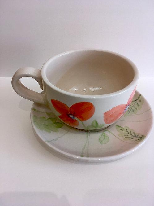 XL  hand painted ceramic  mug