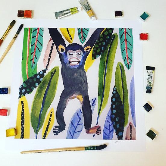 Monkey  Art print