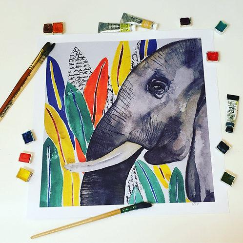 Elephant art print