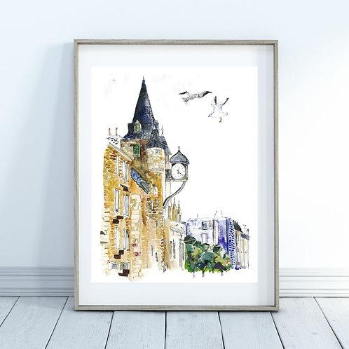 Royal mile clock  Art print