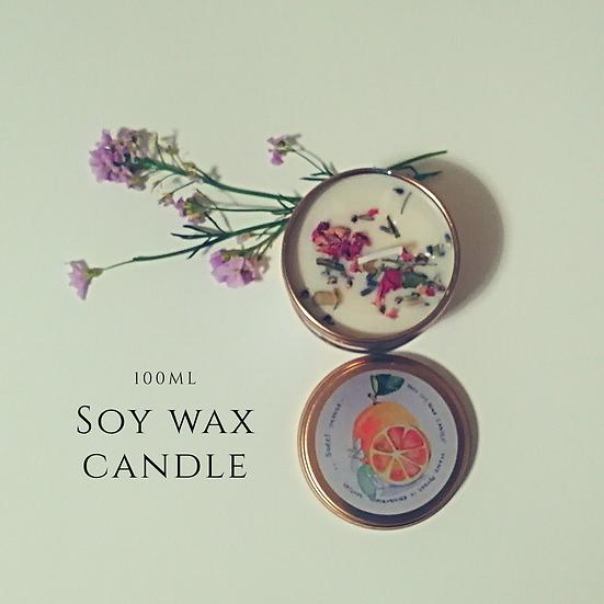 (Orange) vegan soy wax candle