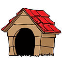 A picture of a cartoon dog house.