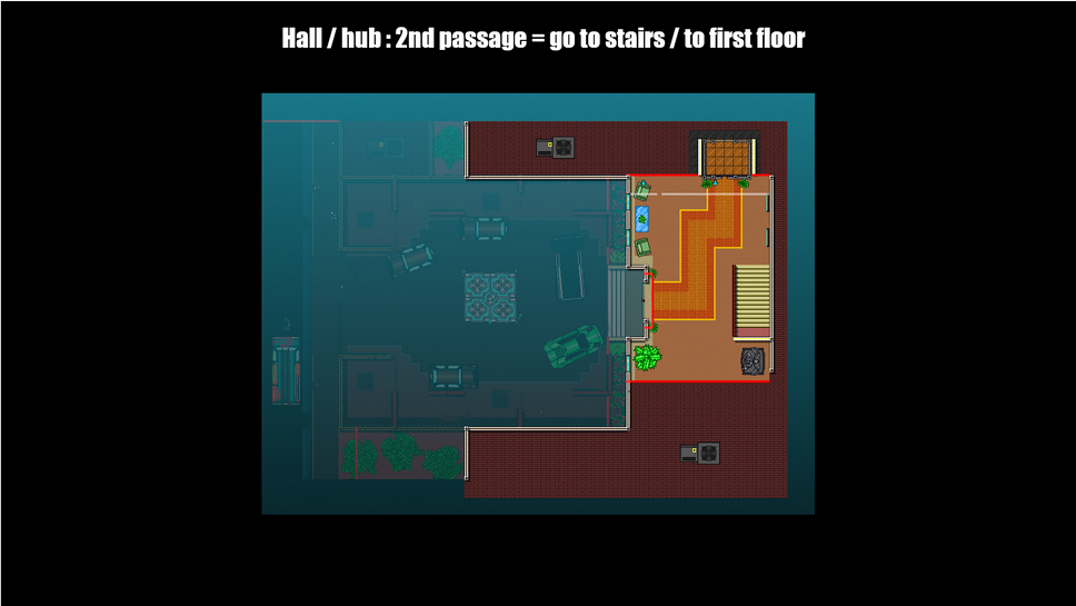 Hall / hud 2nd passage / go to stairs / to 1st floor