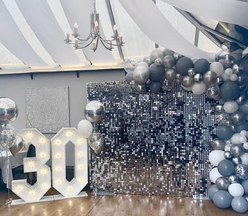 Shimmer Wall 30th Birthday