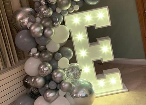 LED light up letter E